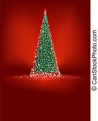 Abstract green christmas tree on red. EPS 8