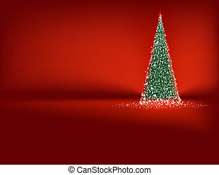 Abstract green christmas tree on red. EPS 10