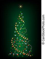 Abstract green Christmas tree vector illustration.