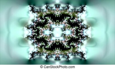 Abstract Green circle animation with kaleidoscope pattern in background