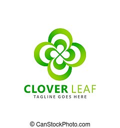 Abstract Green Clover Leaf Company Logos Design Vector Illustration Template
