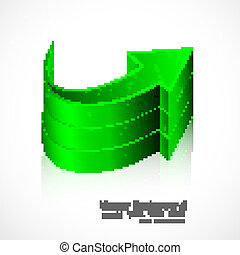 abstract green colorful reflection 3d arrow Vector