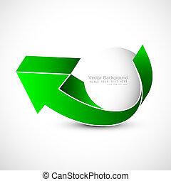 abstract green colorful single 3d arrow Vector