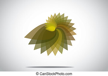 Abstract green colorful spiral floral plant flower icon symbol. different colored petals of a floral plant flower with bright white background - concept design illustration unusual art