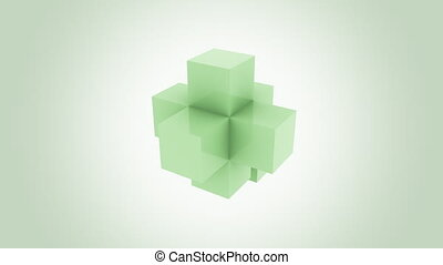 Abstract green cube assembling endlessly. Increase,...