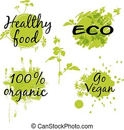 Abstract green eco banners with messages. Vector illustration.
