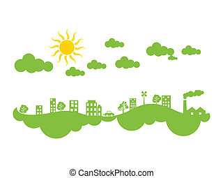 abstract green eco city climate