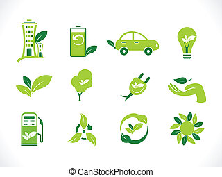 abstract green eco icon vector illustration