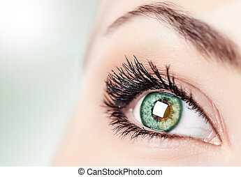 Abstract green eye - One open green eye, ophthalmology ...