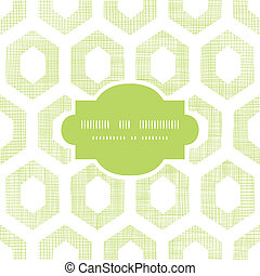 Abstract green fabric textured honeycomb cutout frame seamless pattern background