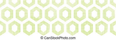 Abstract green fabric textured honeycomb cutout horizontal seamless pattern background
