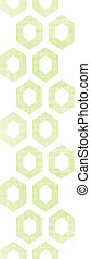 Abstract green fabric textured honeycomb cutout vertical seamless pattern background