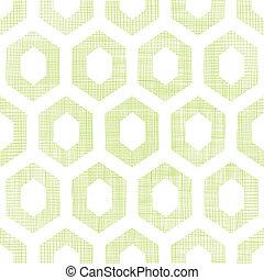 Abstract green fabric textured honeycomb cutout seamless...