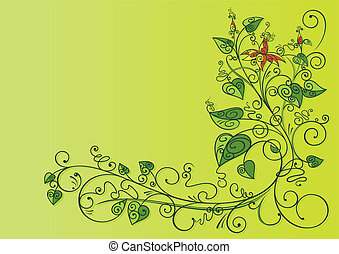 floral background - abstract green floral background