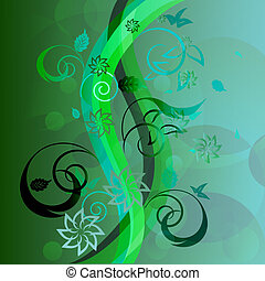 Abstract green floral background with wavy stripes.