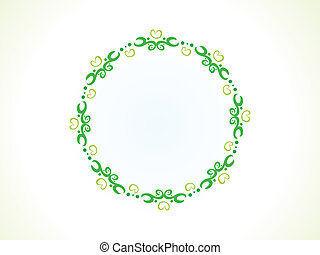 abstract green floral circle border