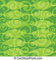 abstract green floral curves seamless pattern