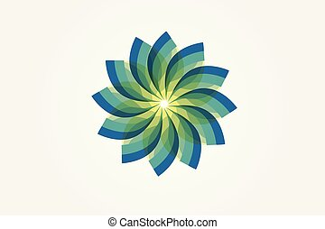 Abstract green flower logo vector image design
