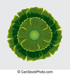 Abstract green flower on white background.