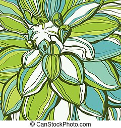 Abstract green flower petals. Use for stylish design. Big copy space.