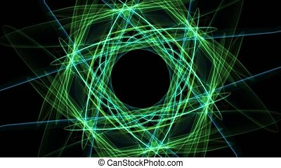 Abstract green fractal animation in hexagonal composition, Nice symmetric ornament rotating on black background.