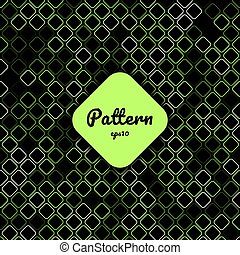 Abstract green geometric square border rounded corner creative pattern on black background