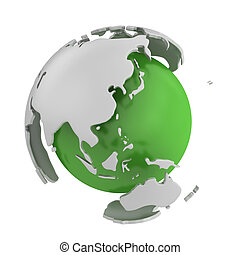 Abstract green globe, Asia isolated on white background