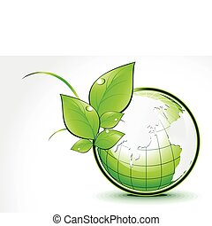 abstract green globe with leaf
