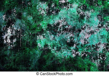 Abstract Green Gold Rust