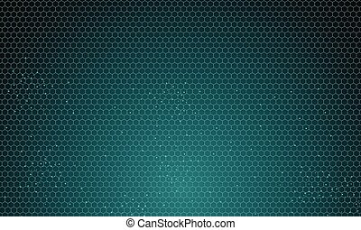 Abstract green hexagon pattern background with particles technology futuristic.