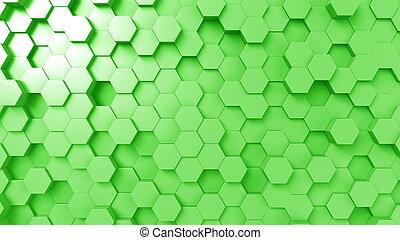 Abstract green hexagons, 3D rendering