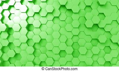Abstract green hexagons