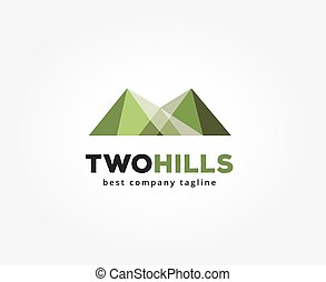Abstract green hills  vector logo icon concept