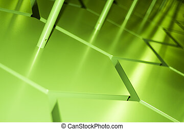 Abstract green industrial zigzag pattern gradient with beams of light backdrop