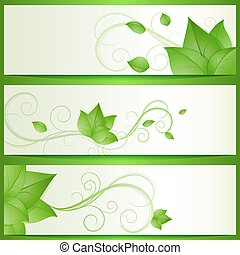 Abstract green leaves eco vector banners with copy space.