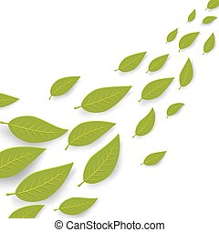 Abstract green leaves flow summer vector background with copy space.