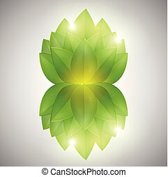 Abstract green leaves, vector