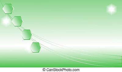 Abstract Green Light Background With Hexagons
