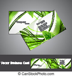 abstract green lives colorful stylish business card design