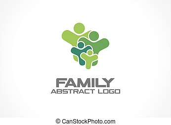 Abstract green logo for business company. People connect, family of 4, four group concept