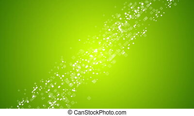 Abstract green moving geometric squares and circles