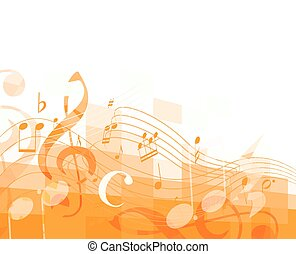 abstract green musical background with key and notes, musical signs