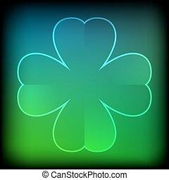 Abstract green neon clover