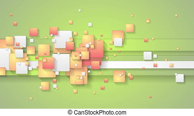 Abstract green orange motion background with squares