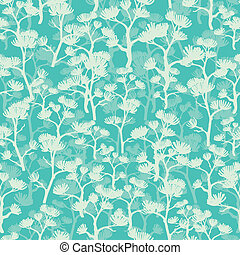 Abstract green oriental trees seamless pattern background