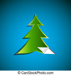 Abstract Green Paper Tree on Blue Background