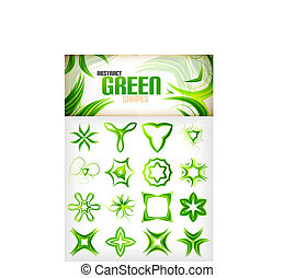Abstract green pattern shapes set