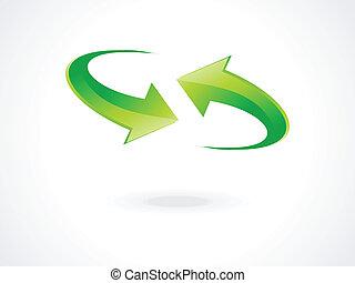 abstract green refresh icon vector