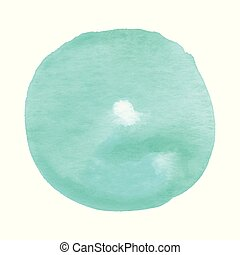 Abstract green round watercolor on white background