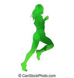 Abstract green running girl